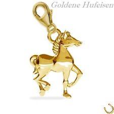 3D Pferd CHARM 925 Echt Silber + 24K Vergoldet Anhänger Pferde Geschenkidee