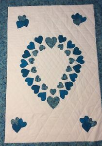 Handmade Turquoise Heart lap quilt