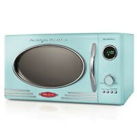 Retro Microwave Oven 800W Countertop Kitchen Cooking Food Led Display 0.9 Cu. Ft
