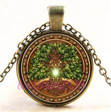 Vintage Celtic Tree of life Photo Cabochon Glass Bronze Pendant Necklace#CB20
