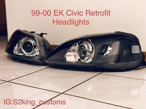 99-00 Honda Civic EK Retrofit Headlights With Bi-xenon Projectors