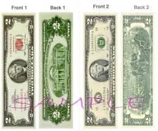 2 Lot-$2 Bill BOOKMARK New Old Style USA MONEY Dollar Fake Card Thomas Jefferson