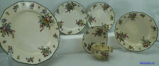Antique ROYAL DOULTON Old Leeds Sprays D3548 6pc Lot Dinnerware Dishes GREEN TRI