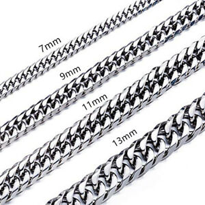 High Polished 7-13MM Stainless Steel Double Curb Chain Franco Necklace for Mens