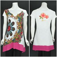 Womens Desigual White T-Shirt Tunic Cotton 39t2501 Floral Short Sleeve Size S