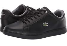 New Lacoste Mens Hydez Black Leather Low Athletic Casual Shoes