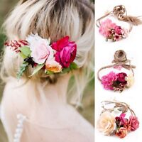 Fashion Womens Wedding Flower Hair Garland Crown Headband Floral Wreath Hairband