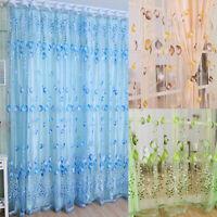 AU_ CW_ Tulip Flower Voile Curtain Drape Panel Room Sheer Home Office Door Windo