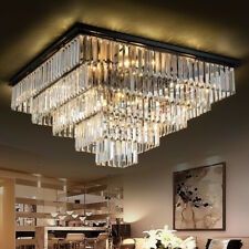 Top Modern living room Continental Iron Square LED crystal chandelier light