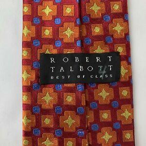 Robert Talbott Luxury Tie Best of Class Orange Geometric Woven Silk Necktie