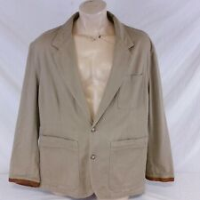 Willis & Geiger Outfitters Safari Jacket Canvas Field Leather Trim Coat Large