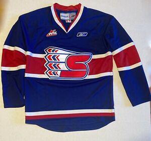 M Reebok WHL Spokane Chiefs Adult Hockey Jersey Blue Red Canadian League CHL