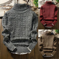 Men's Winter Warm Turtleneck Sweater Knitwear Jumper Pullover Long Sleeve Tops