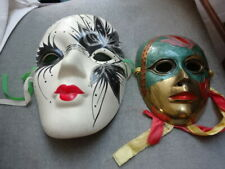 2x Wall Face Mask Brass Painted/Enameled Ceramic New Orleans,Vintage Th