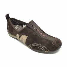 Women's Merrell Barrado Loafers Shoes Size 7.5M Brown Suede Zip Up Athletic AE4