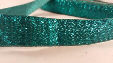 2.5cm- 2 meter Stylish teal blue glittery ribbon lace trim for designing crafts