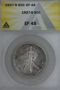 1927-S .50  ANACS  EF 45  Walking Liberty, Lady Liberty Half,