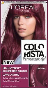 L'Oreal Colorista Violet Permanent Hair Dye Gel Long-Lasting Hair Colour New UK