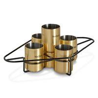 VonShef Shot Glass Set Brushed Gold 4 Glasses Liqueur Party Shooter With Jigger