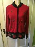 Ugly Christmas Sweater Cardigan Red Pointsettia Rhinestones
