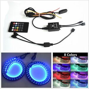 2 Pcs Waterproof RGB LED Car Truck Bed Light Roof Light Neon Glow Lamp + Remote