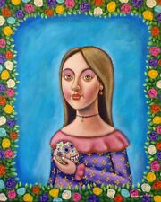 Big Mexican lady Painting German Rubio Folk Art day of the dead sugar skull