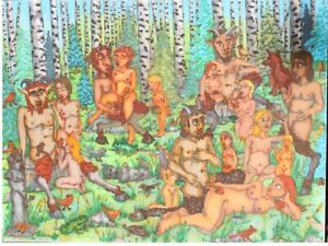 "ORIGINAL EROTIC  ART ""Milking of the Satyrs X""  11""X14""Ink Colored marker Fun"