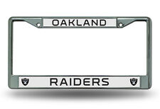 NFL Oakland Raiders Chrome License Plate Frame Thick Black Letters