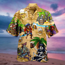 Pirates Drinking Beer Unisex Hawaiian Shirt