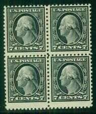 US #507 7¢ black, Block of 4, og, 3NH/1H, tiny gum skip, F/VF Scott $206.00