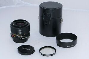 Minolta MD 35mm f1.8 wide angle lens for Minolta X-700. Case, UV filter. Hood.