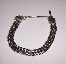 """Heavy, thick silver tone chain link bracelet - Man or Woman  7"""" + Safety - #B170"""