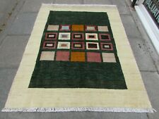 Traditional Tribal Hand Made Persian Gabbeh Oriental Green Wool Rug 188x145cm