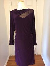 NWT Ralph Lauren Deep Purple Long Sleeve Ruched Dress w/ Mesh Insert Size 22W
