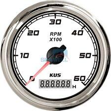 KUS Marine Car Truck Tachometer Boat Tacho Gauge LCD Hourmeter 0-6000 RPM White
