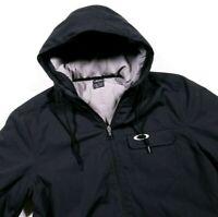 Oakley Black Lined Zip Up Winter Coat Jacket Size M Medium Men's