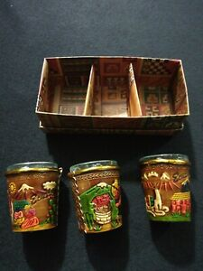 New Set Of 2,3 6 Artisan Shot Glasses Leather Wrapped Cuenca Ecuador Graphics