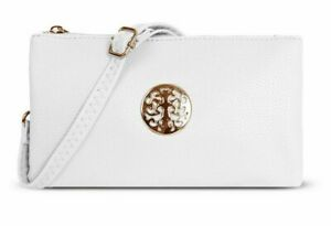 White Clutch Bag Small Multi Compartment Pocket Cross Body Purse Long Strap Bag