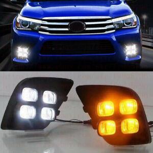 For Toyota Hilux Vigo Revo 2015-17 LED Daytime Day Fog Lights DRL w/Turn Signals