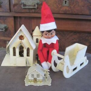 Vintage Czech and Japan Christmas Putz Houses with An Elf on the Shelf