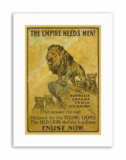 BRITISH EMPIRE ENLIST RECRUIT Poster Military Canvas art Prints