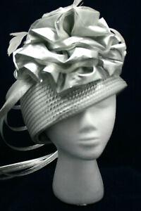 "Ladies' Formal Headpiece Hat Whitall & Shon Wedding Church Derby Silver 22.5"""