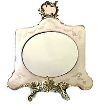 Large Vintage Antique 1905 English London Sterling Silver Decor Mirror Old