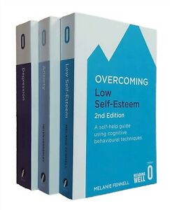 Overcoming Series 3 Books Anxiety Depression Low Self-Esteem Self Help Guide New