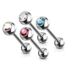 4 lot GEM Ball Stud STAINLESS Steel Tongue Rings BARBELLS Body Piercing Jewelry