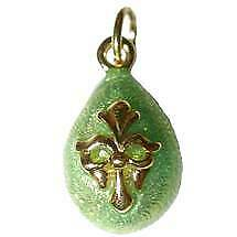 Russian Faberge Inspired Green Enamel Egg Pendant Gold Plated with Box