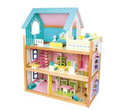 Casa delle bambole in legno a 3 piani Residence, mobili inclusi - 60x30x74cm