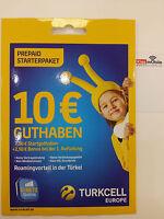 Turkcell Europe Prepaid Sim Karte inkl. Allnet Flat + 3GB Internet + Türkei Flat