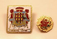 MASONIC PIN 2PC MEDIEVAL TIMES MASONIC WIDOW GOLD TONED VINTAGE