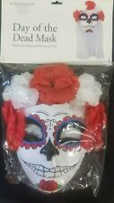 Day Of The Dead Mask With Flowers And Veil
